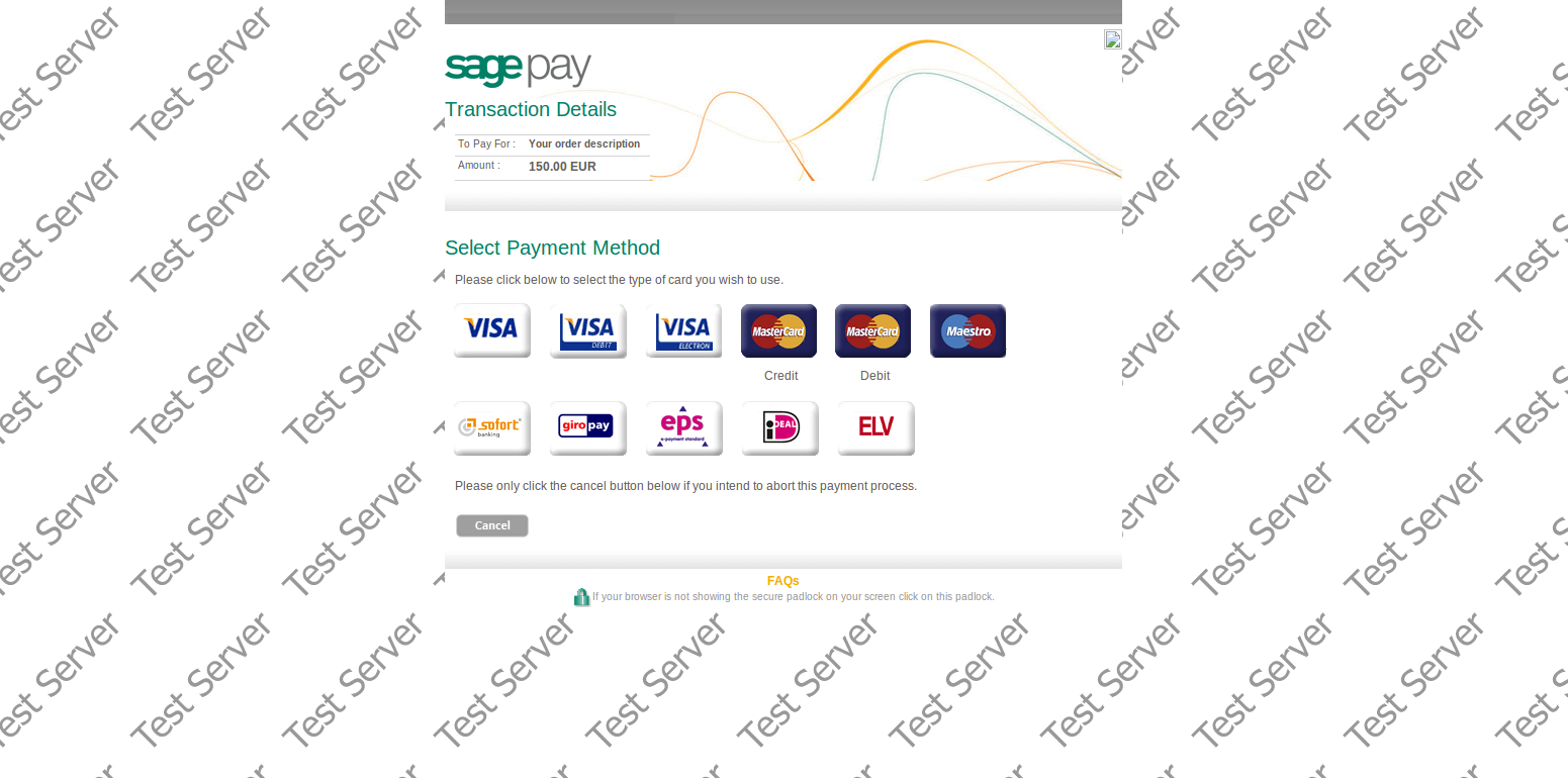Payment Page Sage Pay